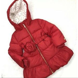 Kate Spade Rosette Belted Puffer Coat Red 2T